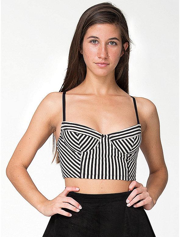 Striped Cotton Spandex Underwire Bustier