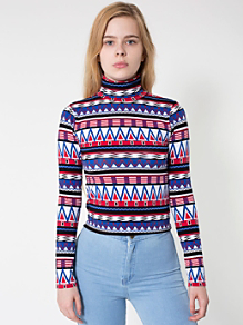 Printed Cotton Spandex Jersey Long Sleeve Turtleneck