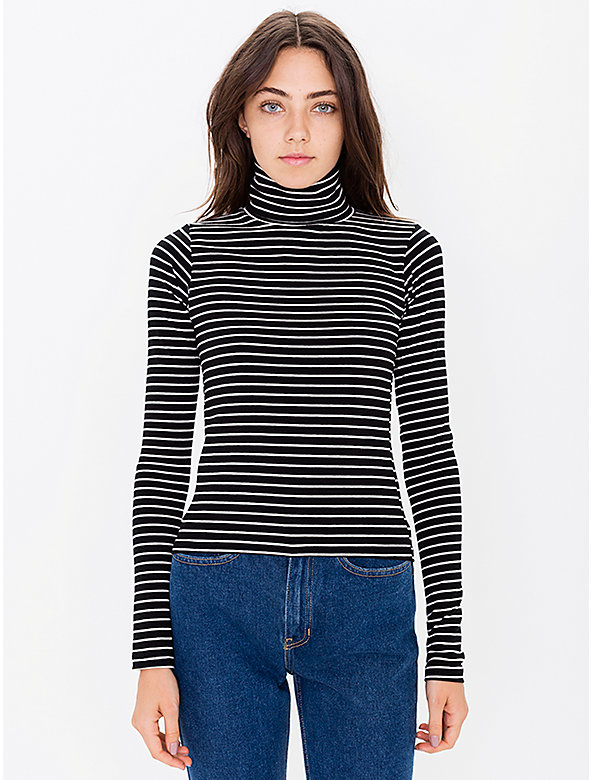 Stripe Cotton Spandex Jersey Long Sleeve Turtleneck