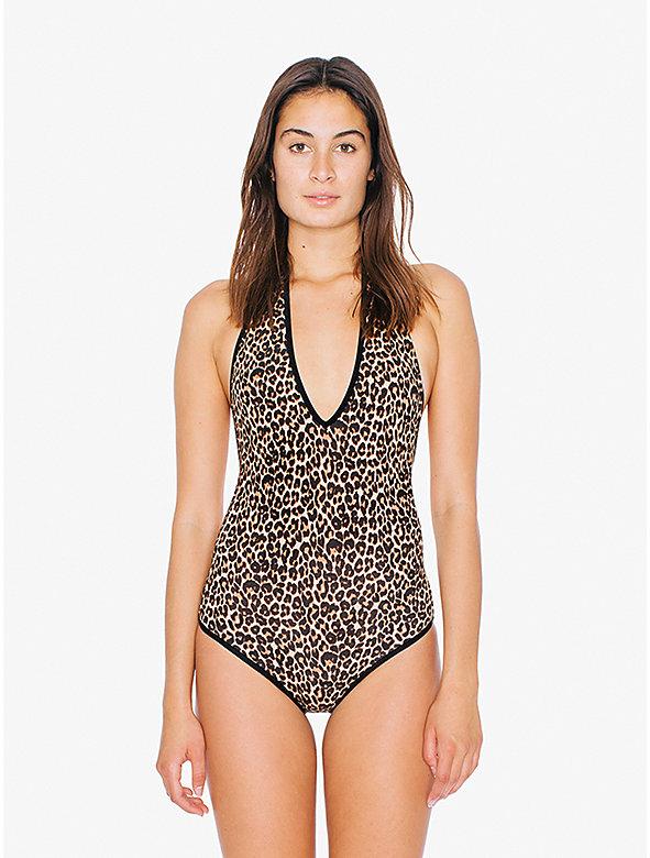 Printed Cotton Spandex Halter Bodysuit