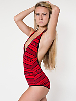 Printed Cotton Spandex Jersey Halter Leotard