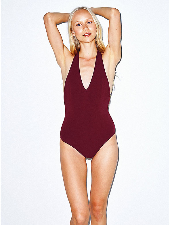 Cotton Spandex Halter Bodysuit