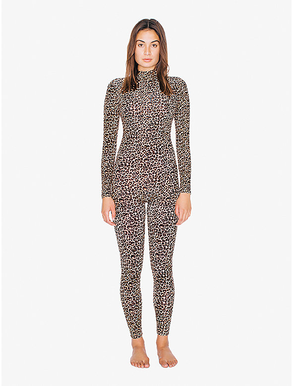 Printed Cotton Spandex Turtleneck Catsuit