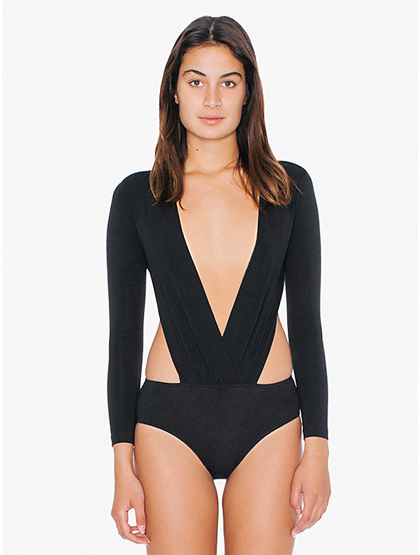 Cotton Spandex Deep V Cutout Bodysuit