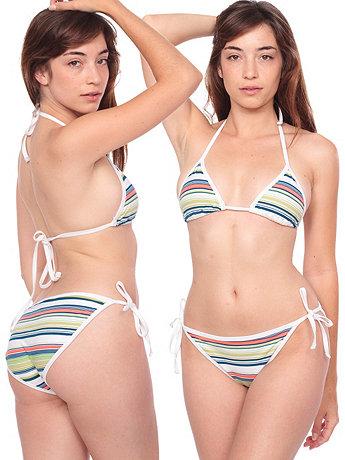 Cotton Spandex Jersey Striped Side-Tie Bikini Bottom
