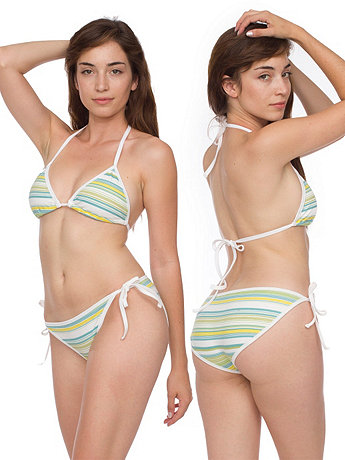 Cotton Spandex Jersey Striped Side-Tie Bikini Bottom