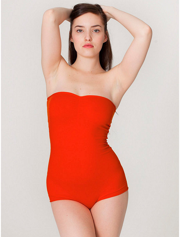 Cotton Spandex Strapless Ruched Bodysuit