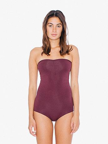 Cotton Spandex Jersey Strapless Ruched Bodysuit