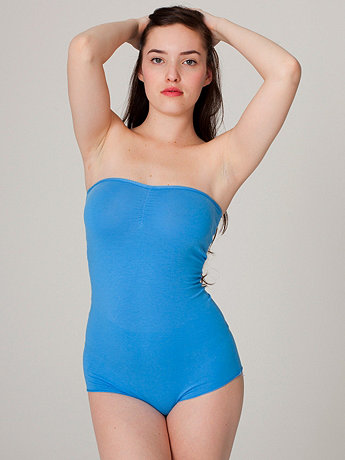 Cotton Spandex Jersey Strapless Ruched Bodysuit