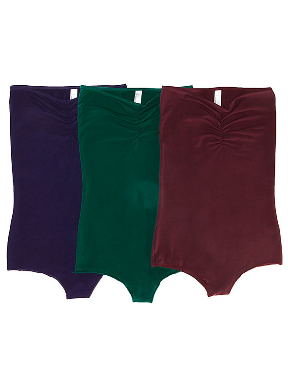 Cotton Spandex Jersey Strapless Ruched Bodysuit (3-Pack)