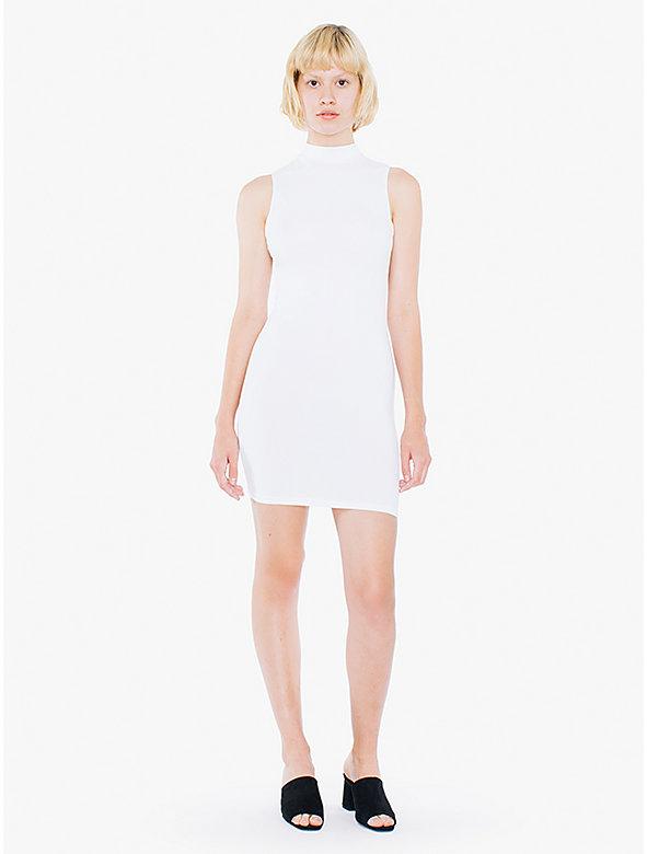 Cotton Spandex Sleeveless Mock Neck Cutout Mini Dress