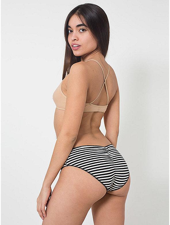 Striped Cotton Spandex Jersey Shirred Back Panty