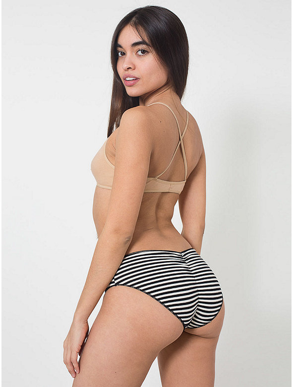 Striped Cotton Spandex Jersey Shirred Back Panty