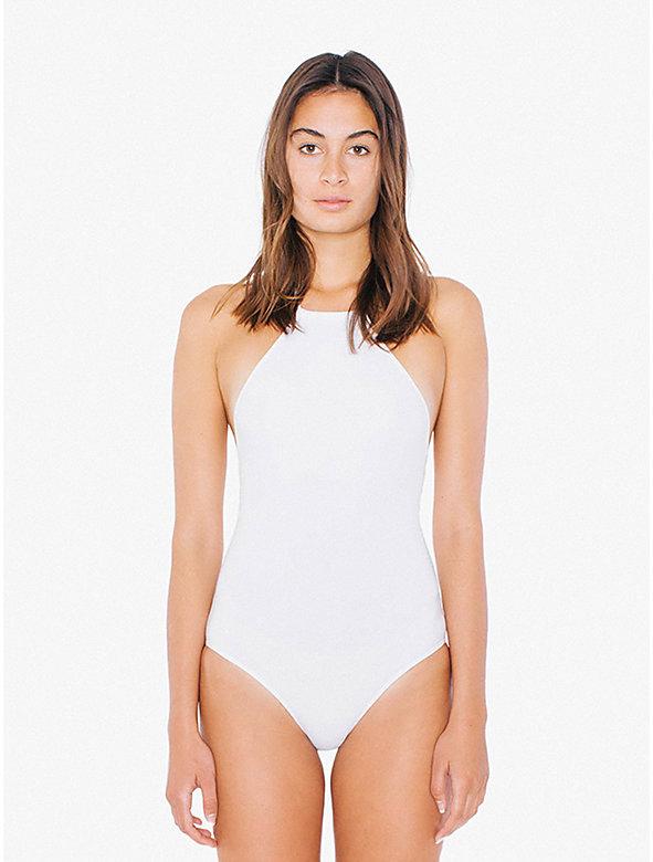 Cotton Spandex High Neck Halter Bodysuit