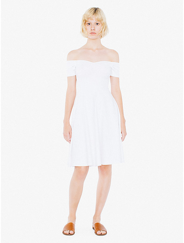 Cotton Spandex Off Shoulder Midi Dress