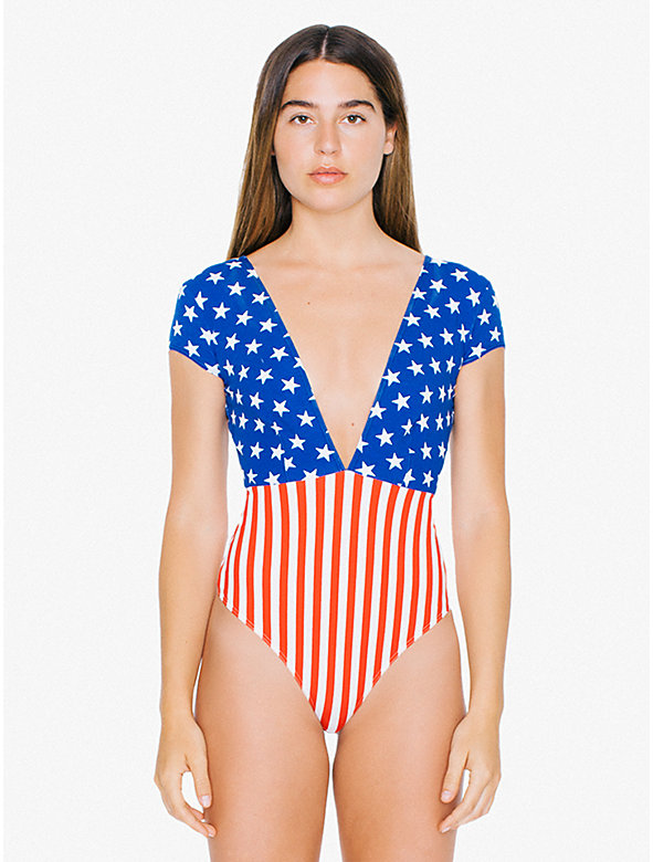 US Flag Cotton Spandex Short Sleeve Double V Bodysuit