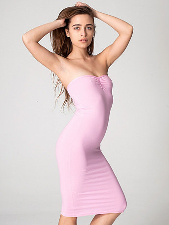 Cotton Spandex Jersey Strapless Ruched Dress