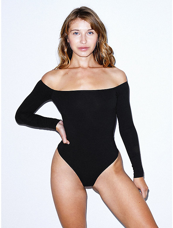 Cotton Spandex Off-Shoulder Long Sleeve Bodysuit