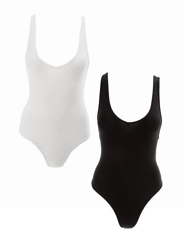 Cotton Spandex Tank Bodysuit (2-Pack)