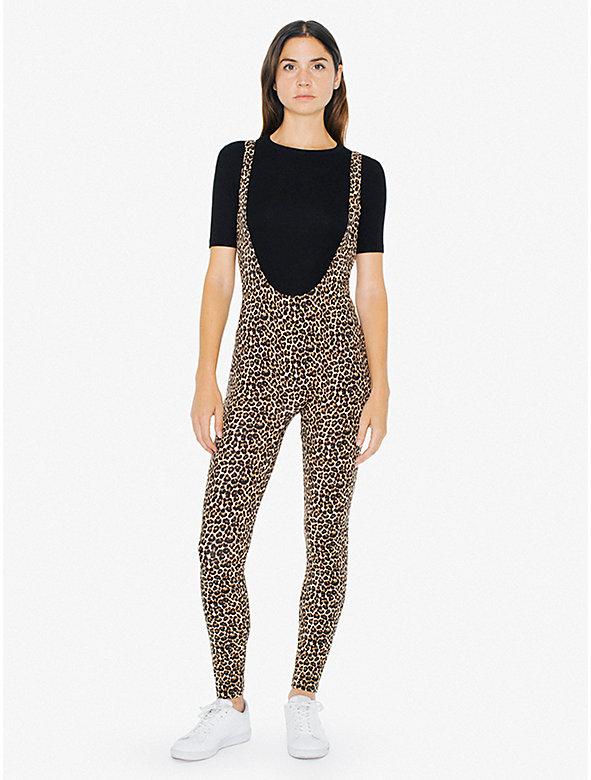 Printed Cotton Spandex Suspender Catsuit