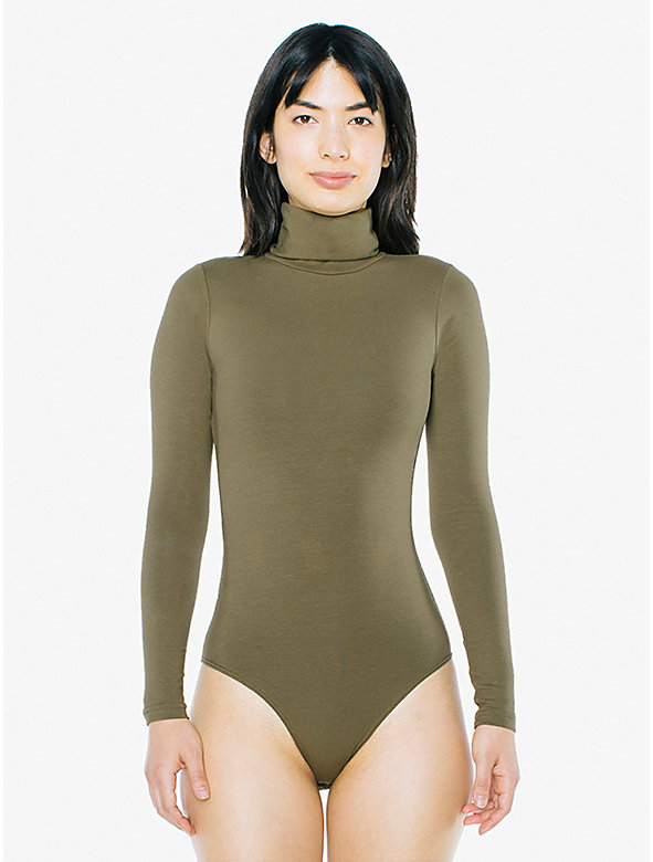 Cotton Spandex Turtleneck Bodysuit