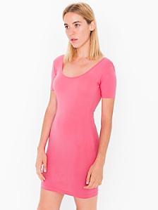 Cotton Spandex Jersey Double U-Neck Dress