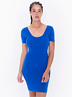 Cotton Spandex Jersey Double U-Neck Dress