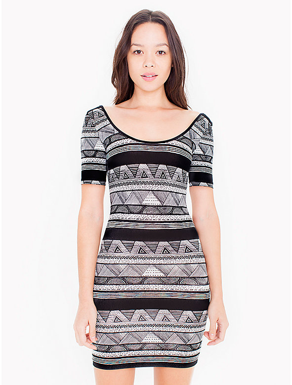 Printed Cotton Spandex Jersey Double U-Neck Dress