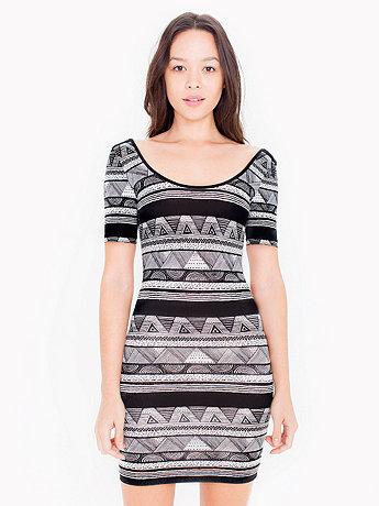 Printed Cotton Spandex Jersey Double U-Neck Dress
