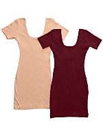 Cotton Spandex Jersey Double U-Neck Dress (2-Pack)