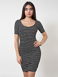 Stripe Cotton Spandex Jersey Double U-Neck Dress