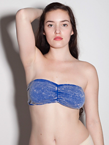 Acid Wash Ruched Front Tube Bra