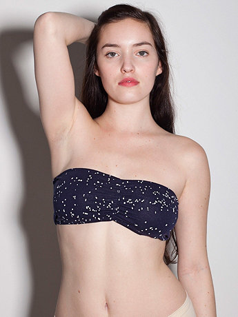 Space Scape Cotton Spandex Ruched Front Tube Bra
