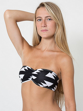 Printed Cotton Spandex Jersey Ruched Front Tube Bra