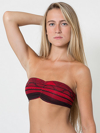 Afrika Print Cotton Spandex Jersey Ruched Front Tube Bra