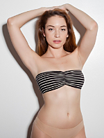 Stripe Cotton Spandex Jersey Ruched Front Tube Bra