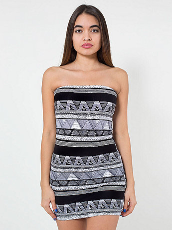 Afrika Print Cotton Spandex Jersey Too-Short Tube Dress