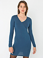 Cotton Spandex Jersey Long Sleeve Criss-Cross Dress