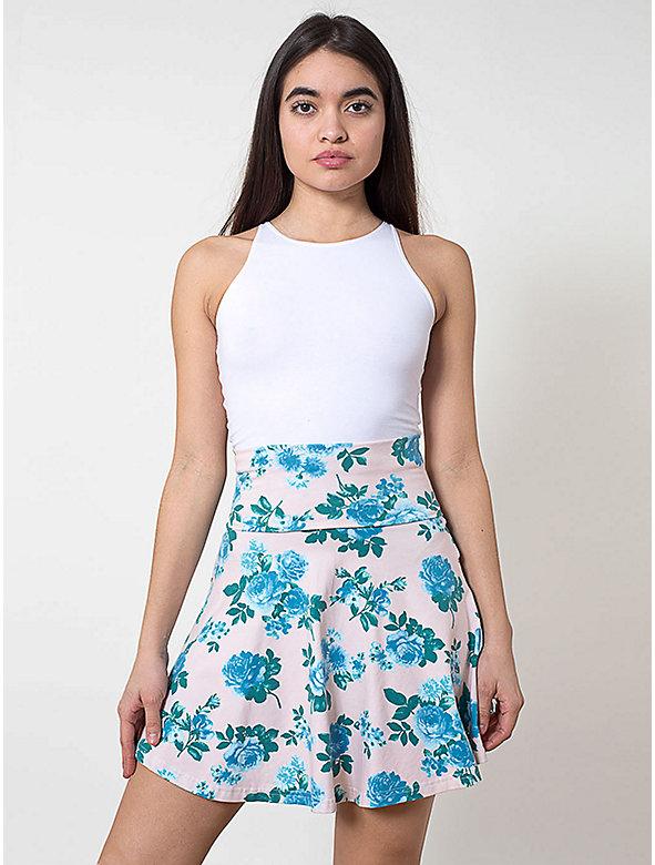 Printed Cotton Spandex Jersey High-Waist Skirt