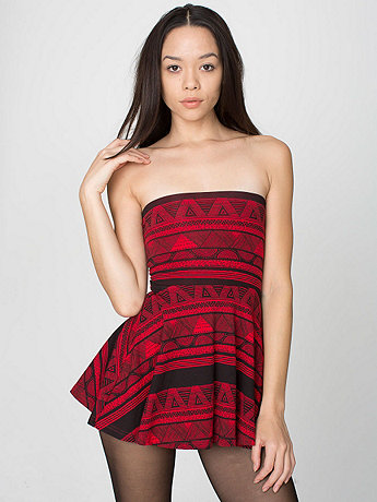 Printed Cotton Spandex Jersey High-Waist Skirt