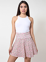 Floral Printed Cotton Spandex Jersey High-Waist Skirt