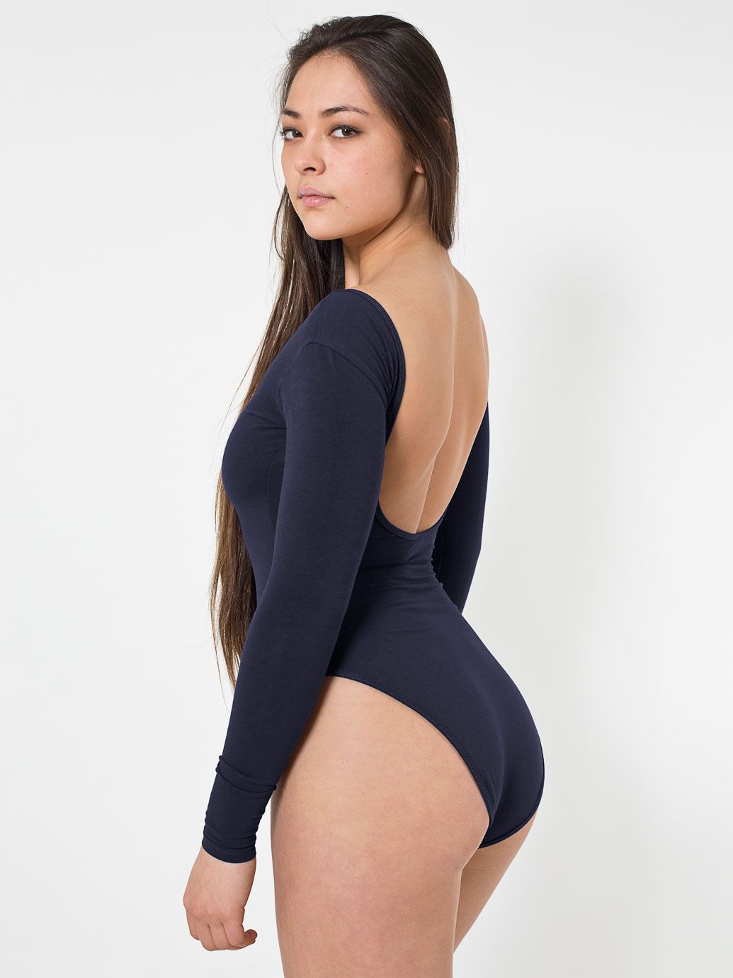 Cotton Spandex Jersey Double U-Neck Long Sleeve Bodysuit