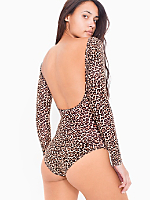 Leopard Print Cotton Spandex Jersey Double U-Neck Long Sleeve Bodysuit