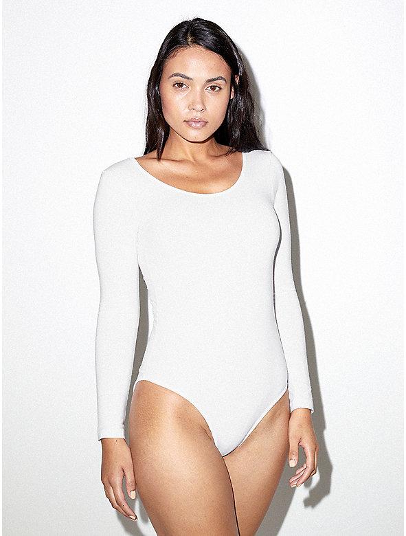 Cotton Spandex Long Sleeve Scoop Back Bodysuit