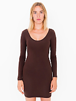 Cotton Spandex Jersey Double U-Neck Long Sleeve Mini Dress