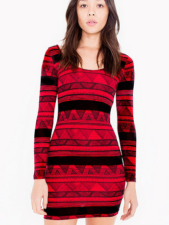Afrika Printed Cotton Spandex Jersey Double U-Neck Long Sleeve Mini Dress
