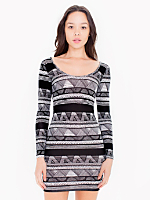 Printed Cotton Spandex Jersey Double U-Neck Long Sleeve Mini Dress