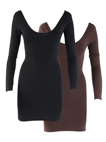 Cotton Spandex Double U-Neck Long Sleeve Dress (2-Pack)
