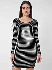 Stripe Spandex Double U-Neck Long Sleeve Mini Dress