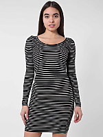 Stripe Spandex Double U-Neck Long Sleeve Mini Dress